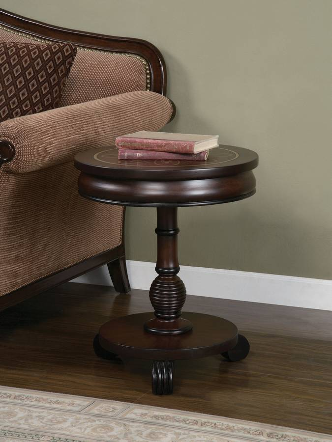 Cheap Powell Masterpiece Petal Motif Round Accent Table with Base Display Shelf and Reeded Feet