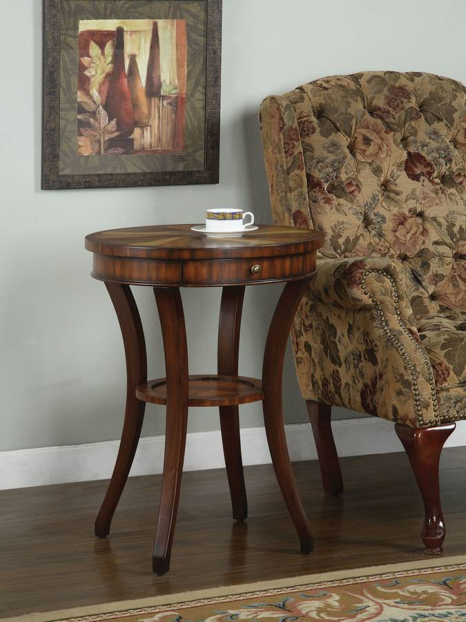 Cheap Powell Masterpiece Faux Mahogany Round Accent Table