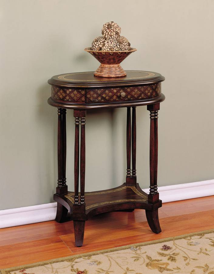 Cheap Powell Masterpiece Antique Walnut Chairside Accent Table