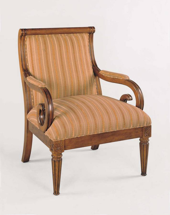 Powell Kilarney Scroll Accent Chair - Lightly Distressed Fruitwood Finish with Woven Stripe Fabric