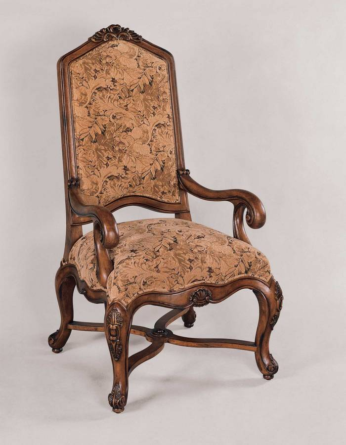 Powell Monroe Tall Back Accent Chair - Lightly Distressed Fruitwood Finish with Floral Tapestry Fabric