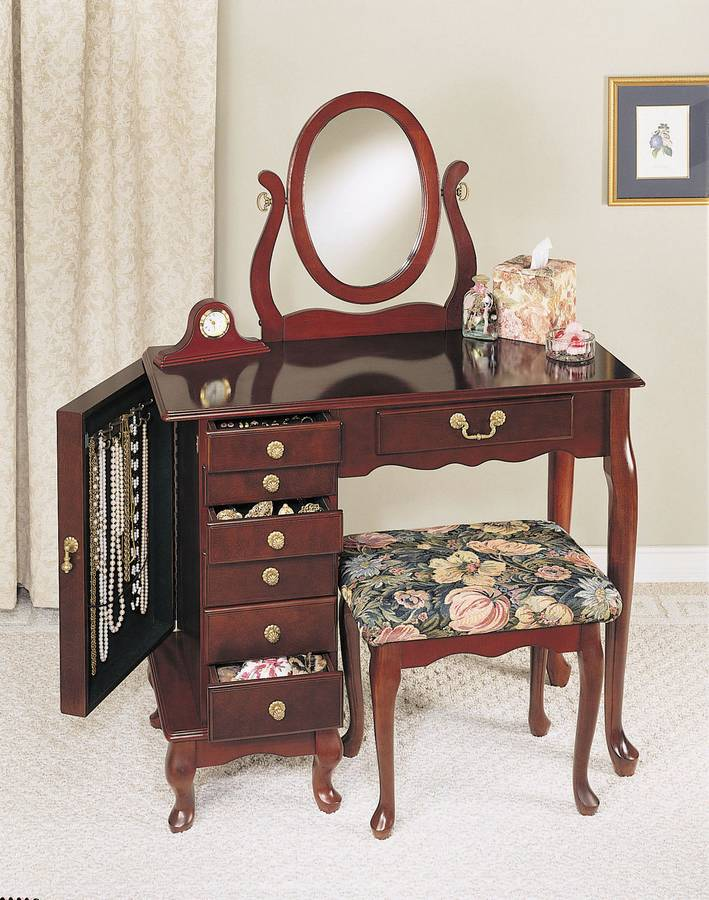 Powell Heirloom Cherry Jewelry Armoire Vanity Mirror and Bench