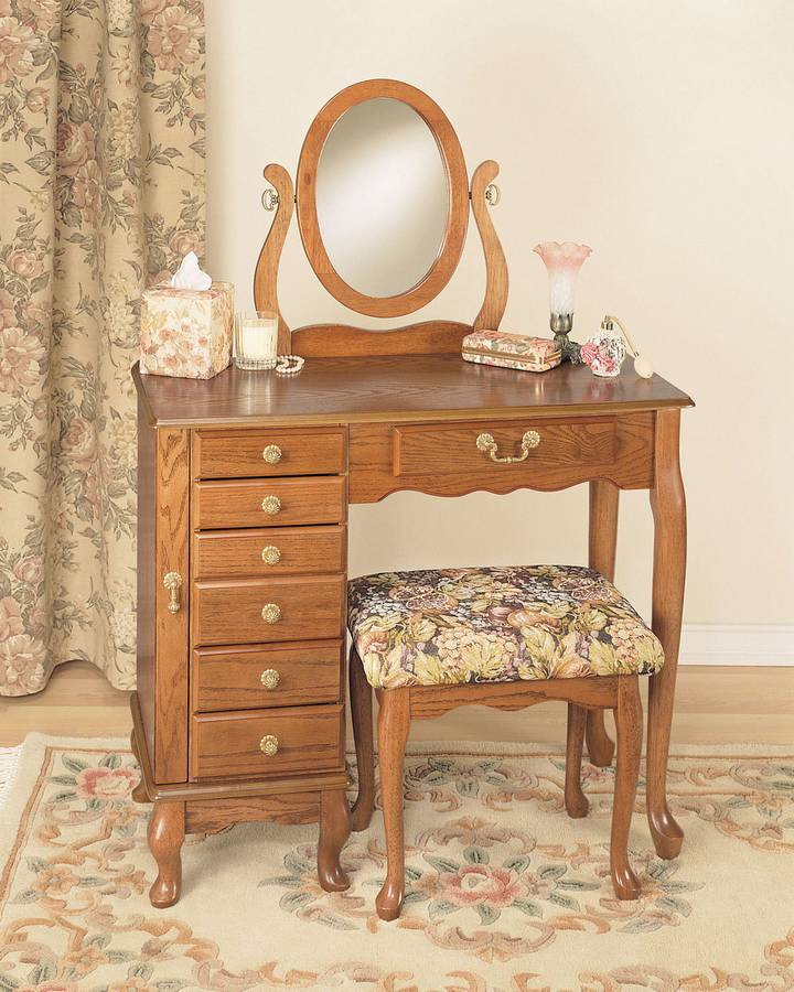 Cheap Powell Nostalgic Oak Jewelry Armoire Vanity Mirror and Bench