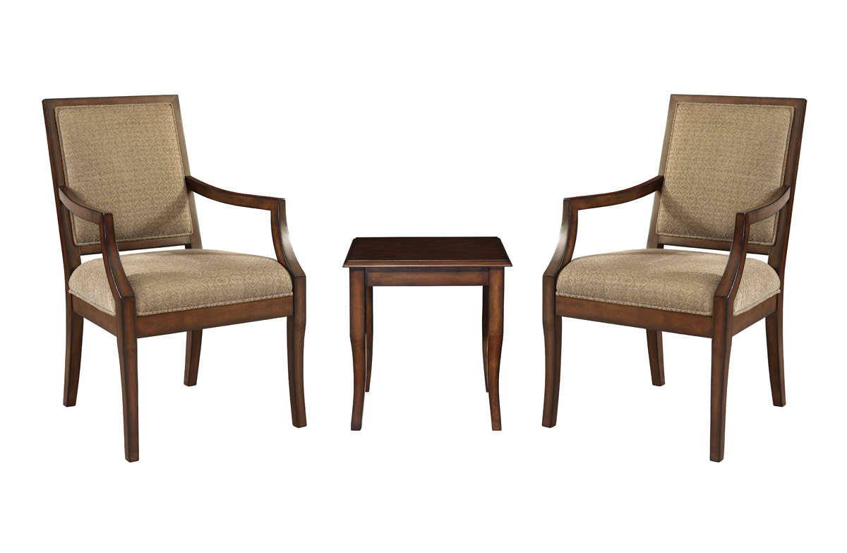 Powell Rectangular Back Accent Chairs with Light Cherry End Table - 3 Piece Set
