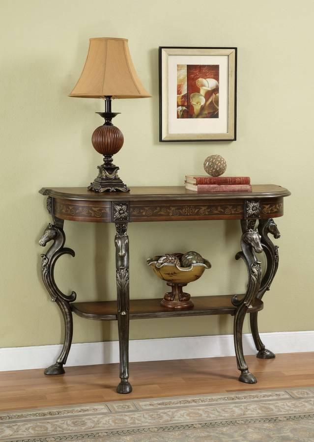 Powell Masterpiece Floral Hand Painted Demilune Console Table