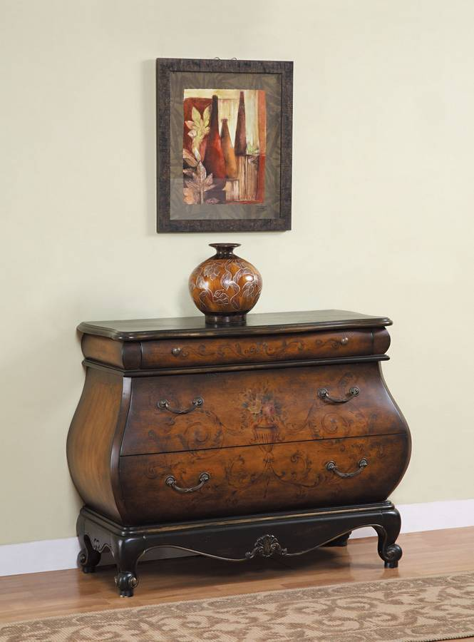 Powell Masterpiece Antique Black And French Walnut Bombe Shaped 3 Drawer  Hall Chest