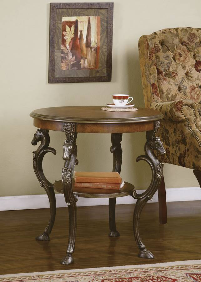 Cheap Powell Masterpiece Aged Mahogany Accent Table