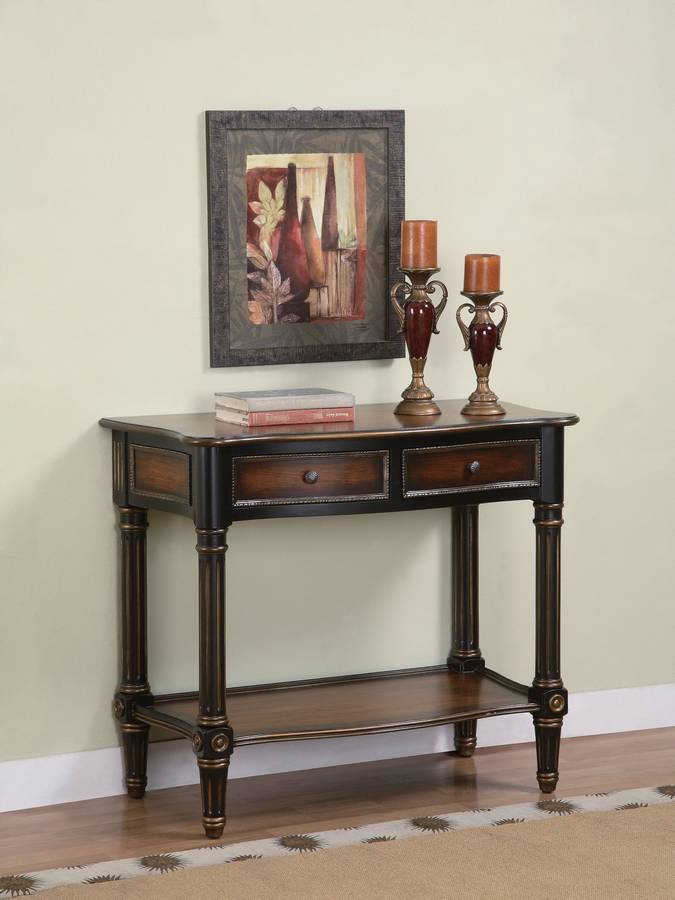 Cheap Powell Masterpiece Serpentine Front Gold Tip Antique Black 2-Drawer Console Table