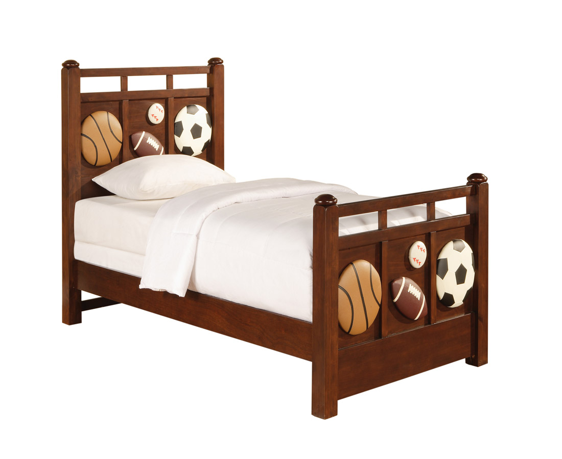 Powell White Twin Bedroom In A Box: Powell Half-Time Sports Twin Size Bed PW-422-039-040-041
