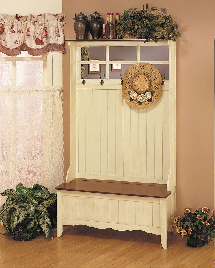 Powell French Country French Maple and Weathered Linen Hall Tree with Storage Bench