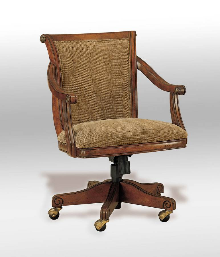 Powell Brandon Warm Cherry Castered Swivel Arm Chair