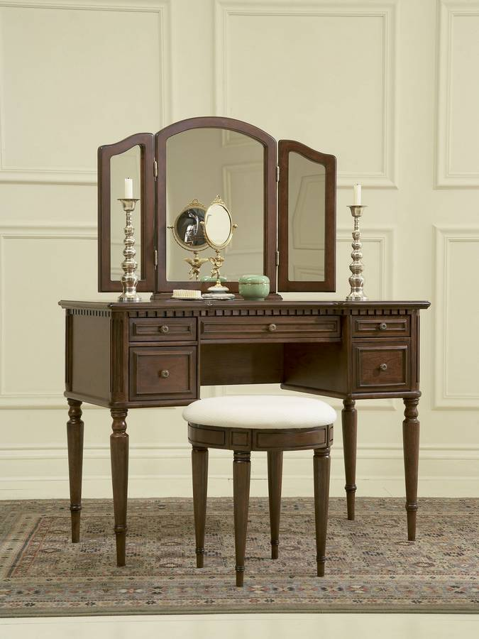 Powell Warm Cherry Vanity Mirror and Bench