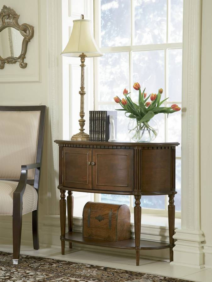 Cheap Powell Warm Cherry Demilune Console Table
