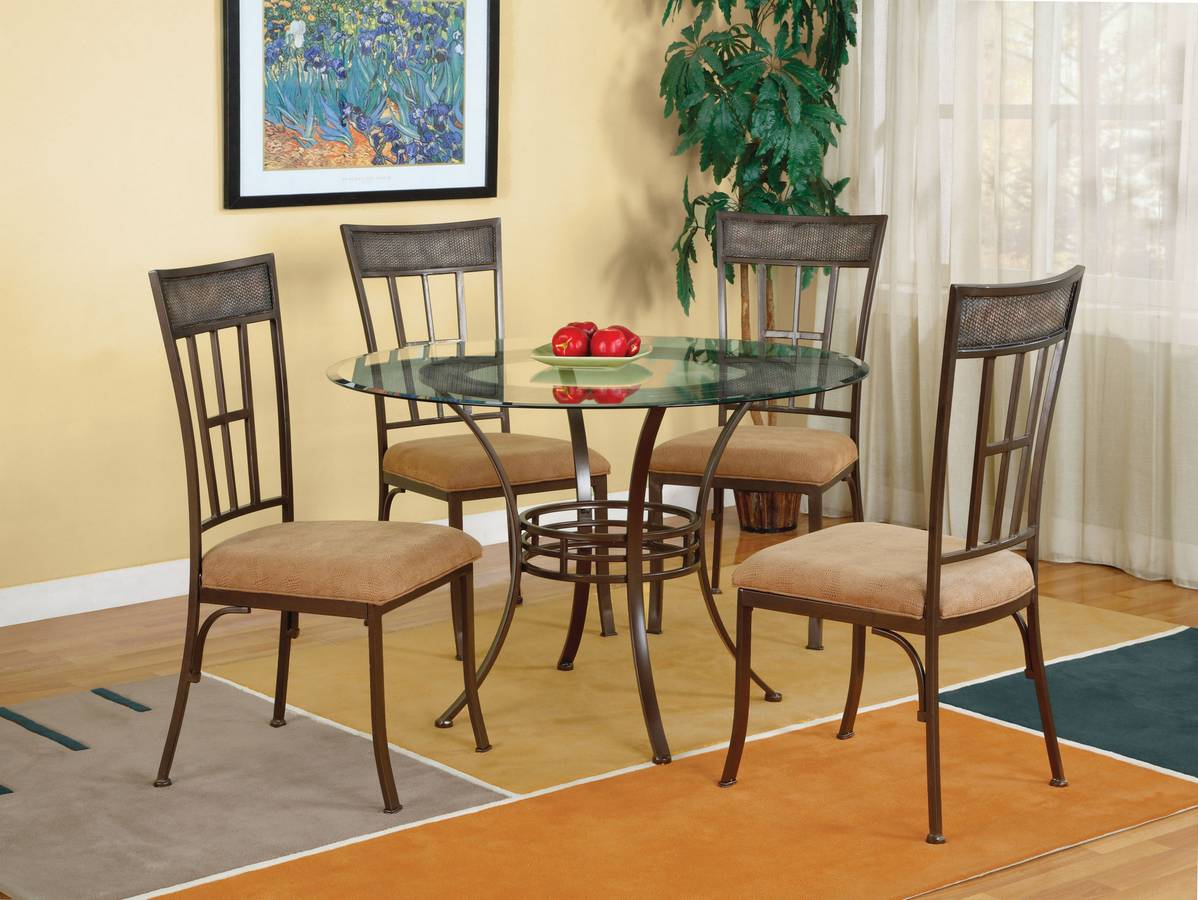 Powell Camelback Light Patina Bronze with Grey Dining Set