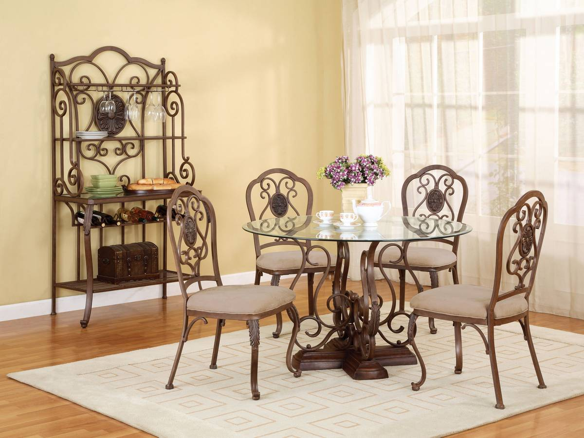 Powell Bloomfield Hand Mottled Antique Bronze Dining Set