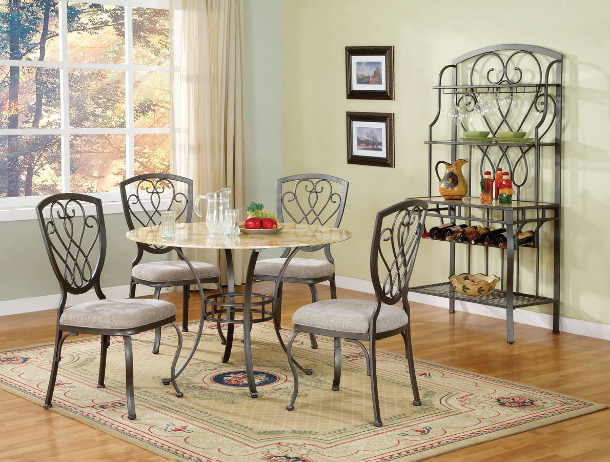 Powell Arlington Antique Pewter Dining Set