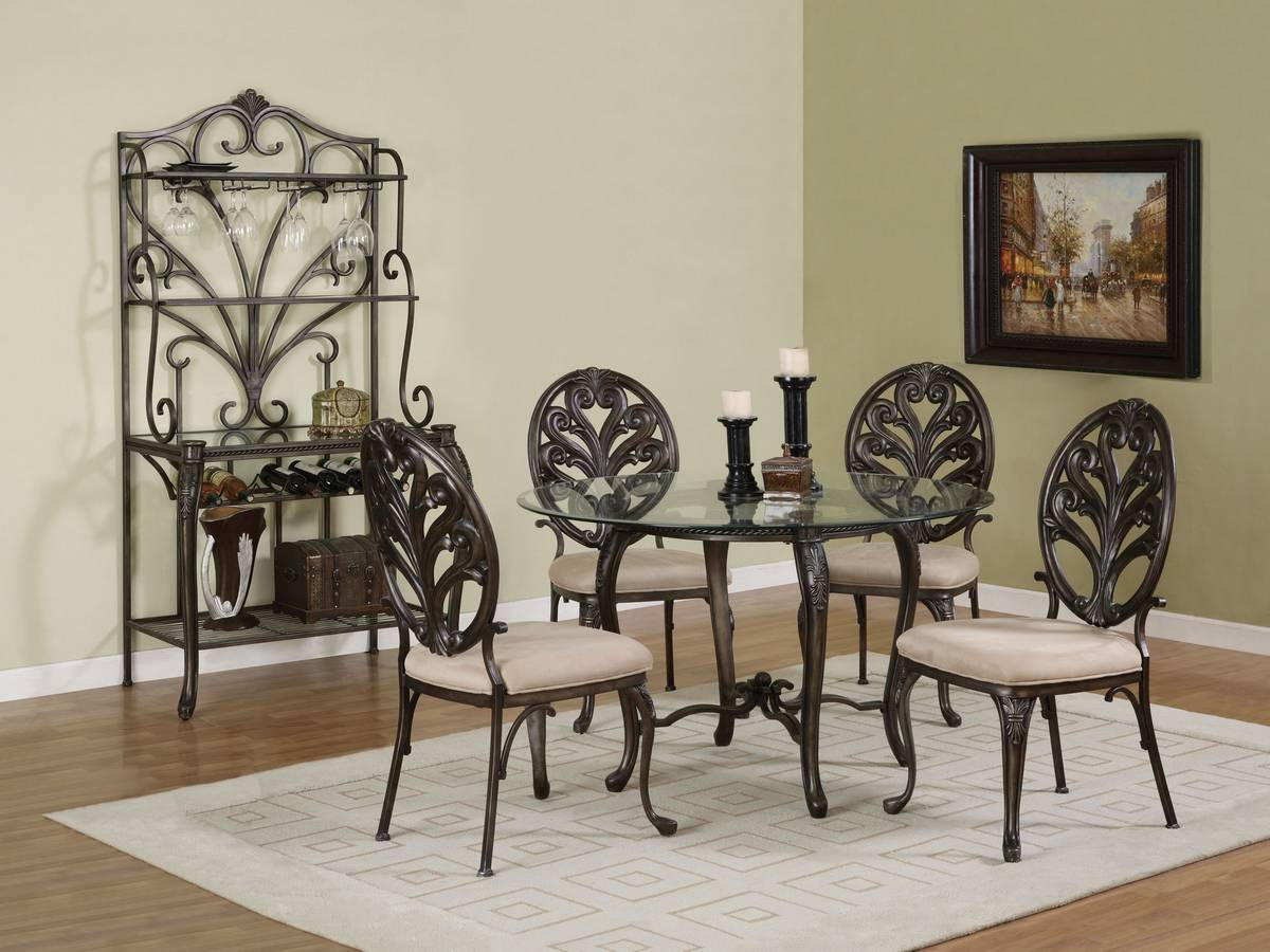Powell Biscayne Aged Pewter with Bronze Dining Set