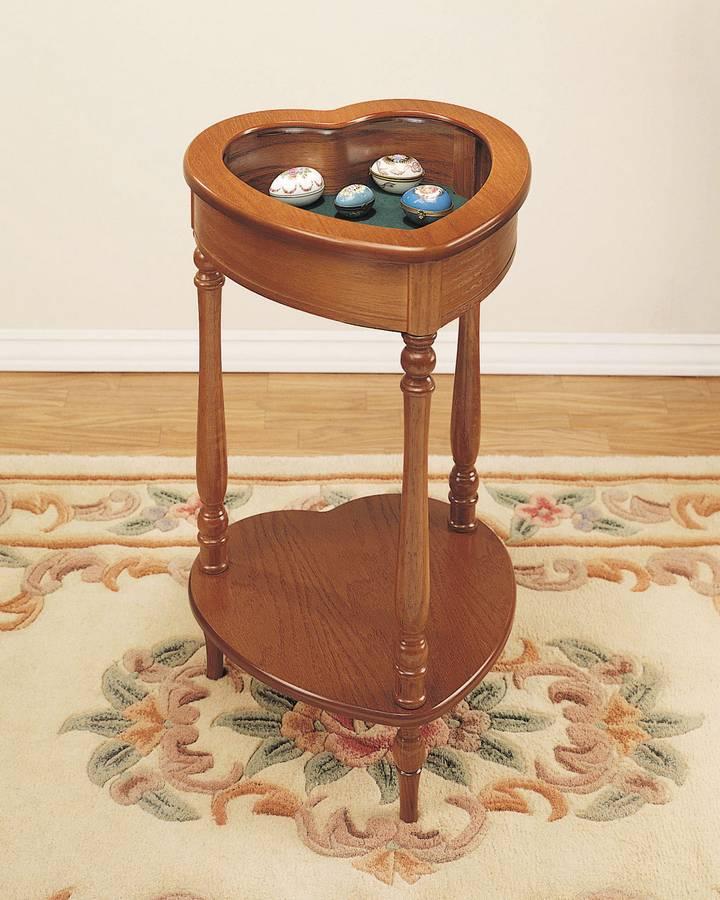 Cheap Powell Nostalgic Oak Heart Curio Table