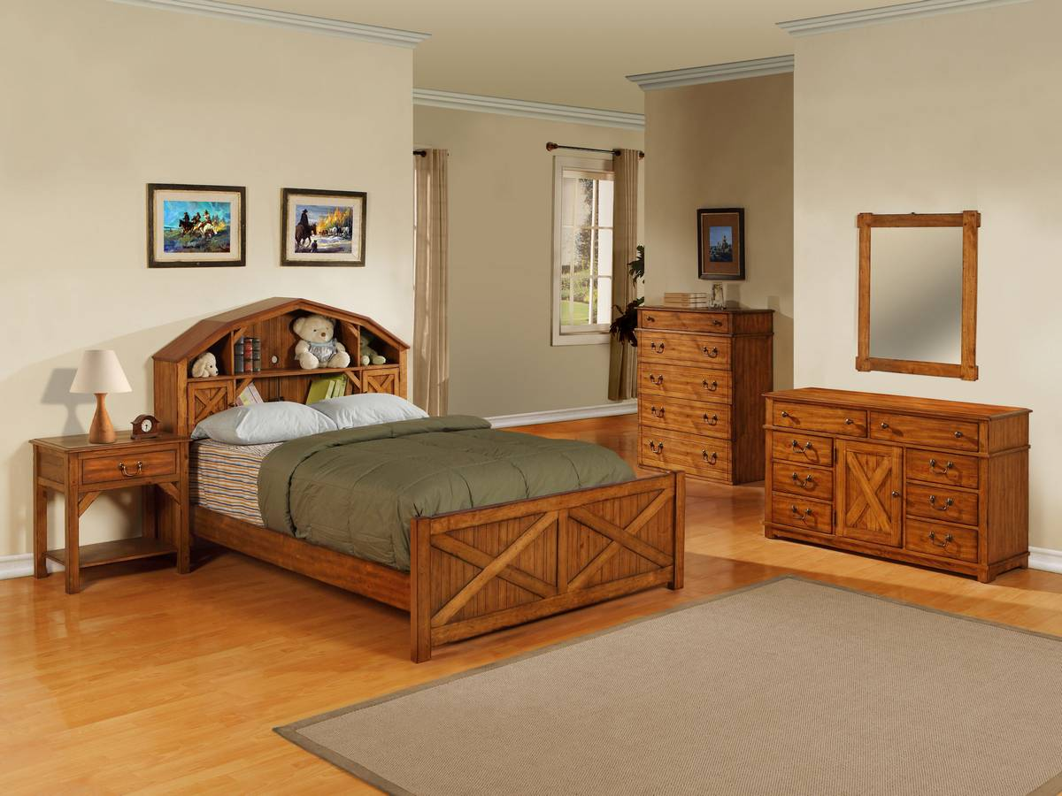 Rustic Pine Bedroom Furniture powell dakota dark rustic pine barn style bookcase bedroom set pw