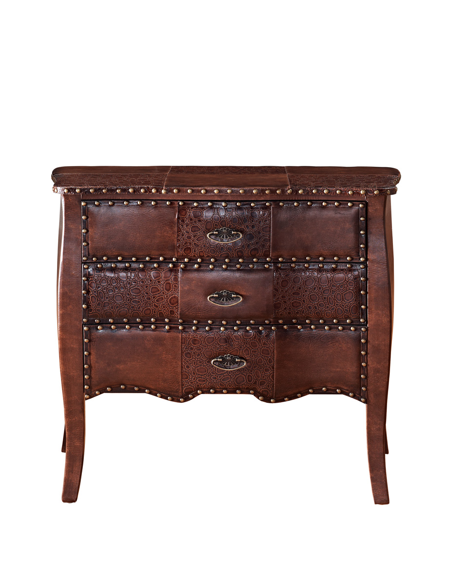 Powell Expedition 3-Drawer Bombe Chest - Chestnut