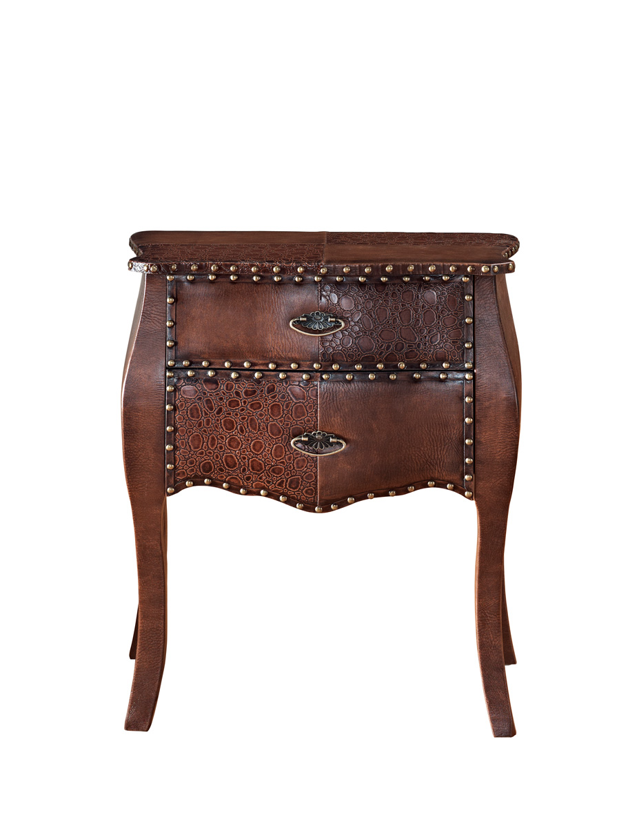 Powell Expedition 2-Drawer Bombe Chest - Chestnut