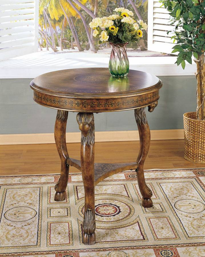 Cheap Powell Masterpiece Accent Table with Harp Center Design – Faux Walnut Grain with hand paint border and marquetry inlay