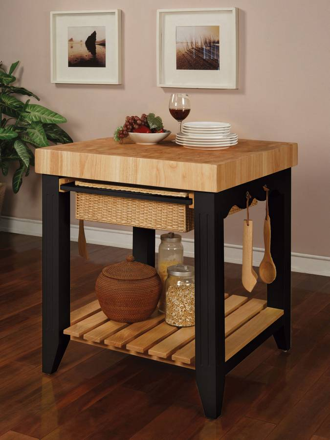 Cheap Powell Color Story Black Butcher Block Kitchen Island