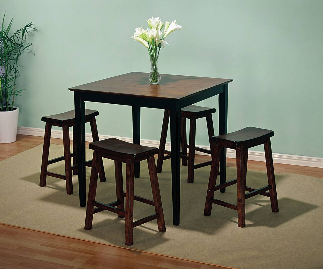 Powell Honey Brown and Antique Black with Sand Through Terra Cotta Gathering Table Dining Set