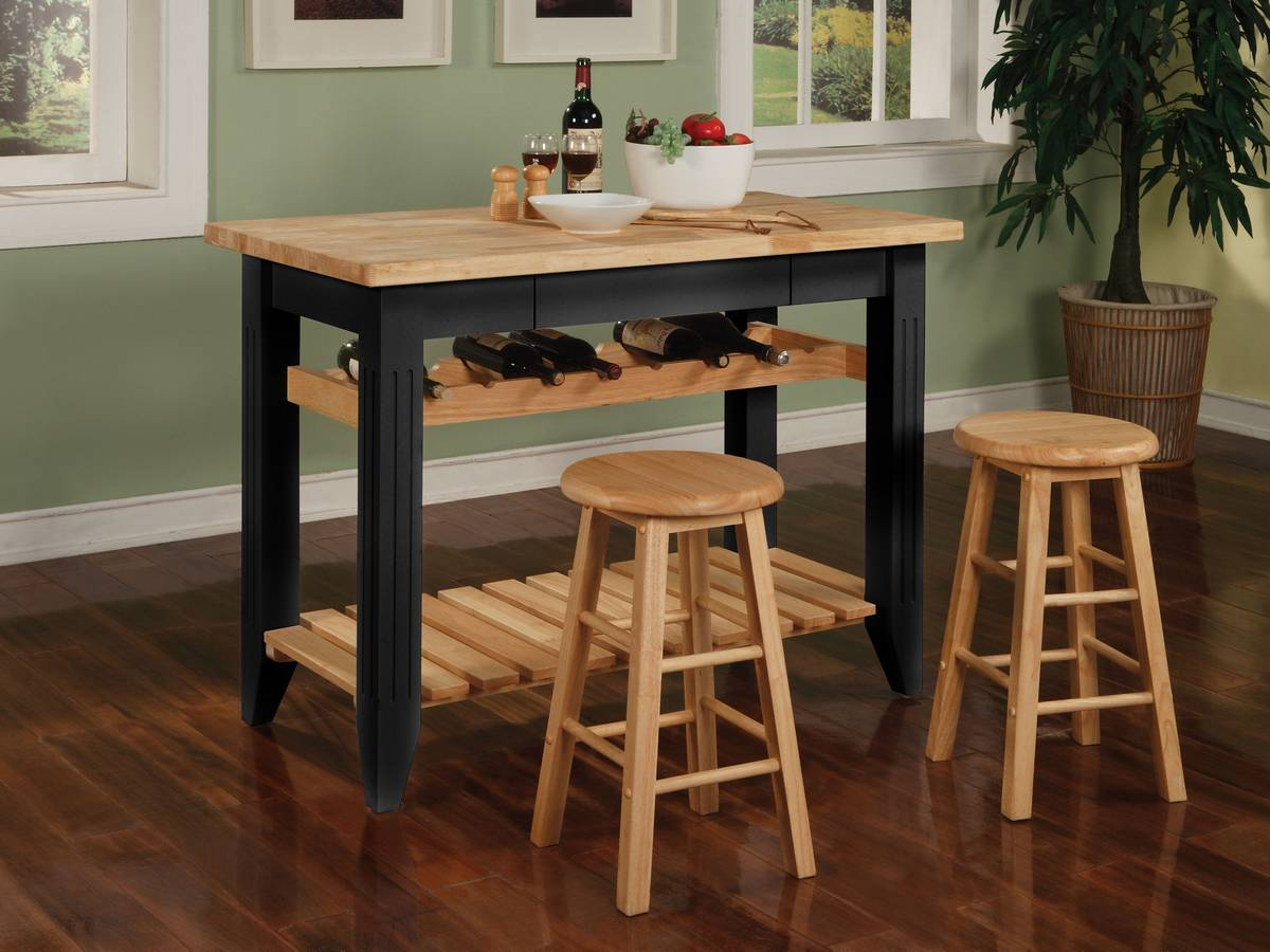 Powell Color Story Black Butcher Block Gathering Island Pw