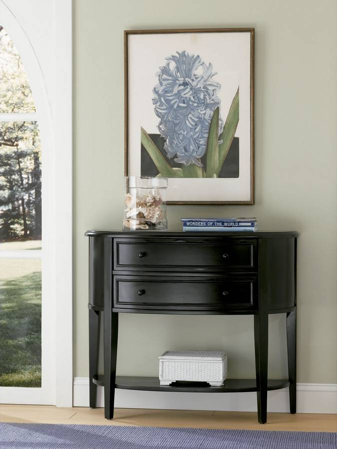 Powell Antique Black with Sand Through Terra Cotta Demilune Console Table