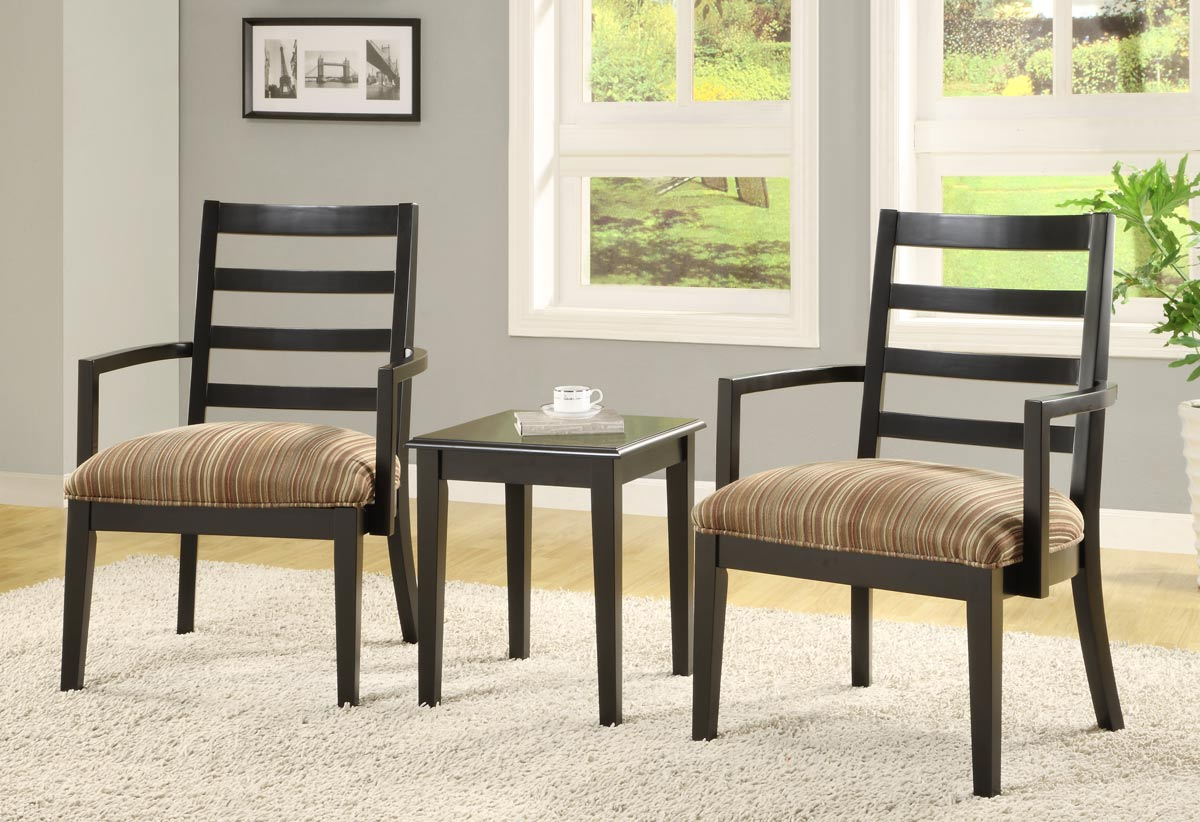 Powell 3 Piece Set - 2 Accent Chairs with Earthtone Striped Fabric And 1 Rectangle End Table