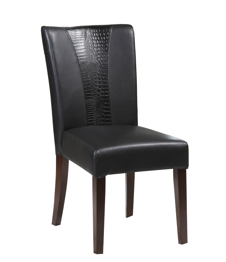 Powell black faux leather parsons chair 502 965 for Black leather parsons chairs