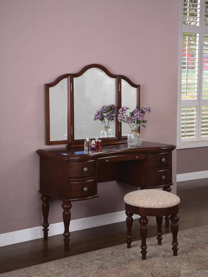 Powell Marquis Cherry Vanity Mirror and Bench