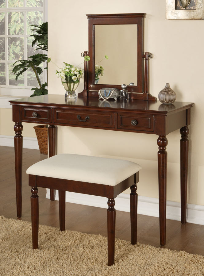 Powell Marquis Cherry Vanity, Mirror and Bench