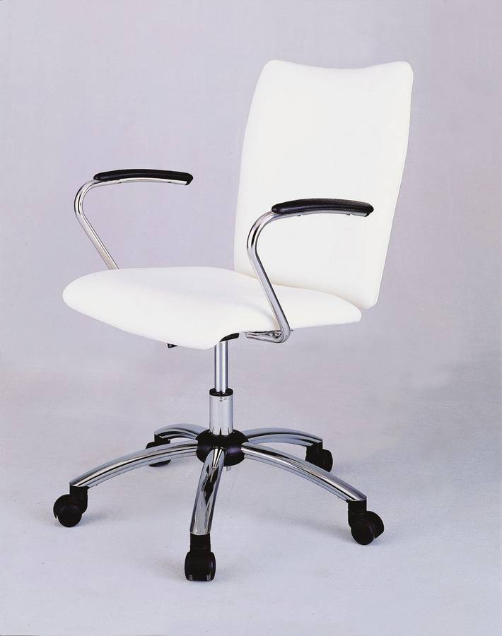 Cheap Powell Teen Trends Chrome Plated Desk Chair with White Vinyl Fabric