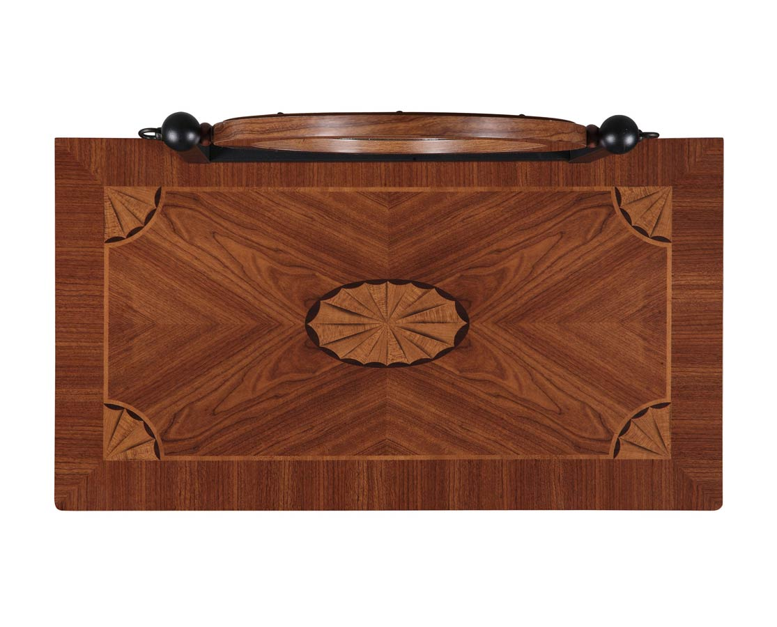 Powell Traditional Faux Mahogany with Marquetry Vanity Mirror and Bench