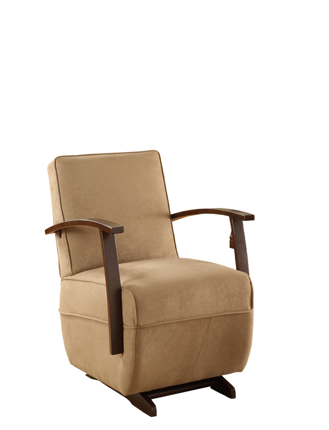 Powell Glider Rocker Dark Cherry Tan Microfiber Bentwood Arm