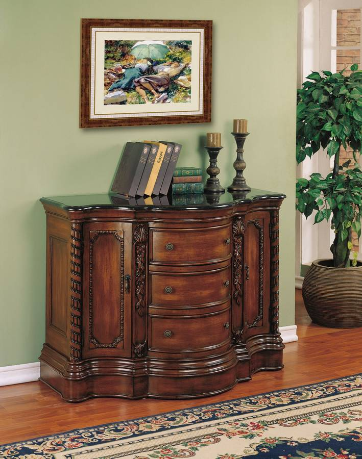 Cheap Powell Masterpiece Faux Hand Painted Mahogany 3-Drawer 2-Door Console Cabinet