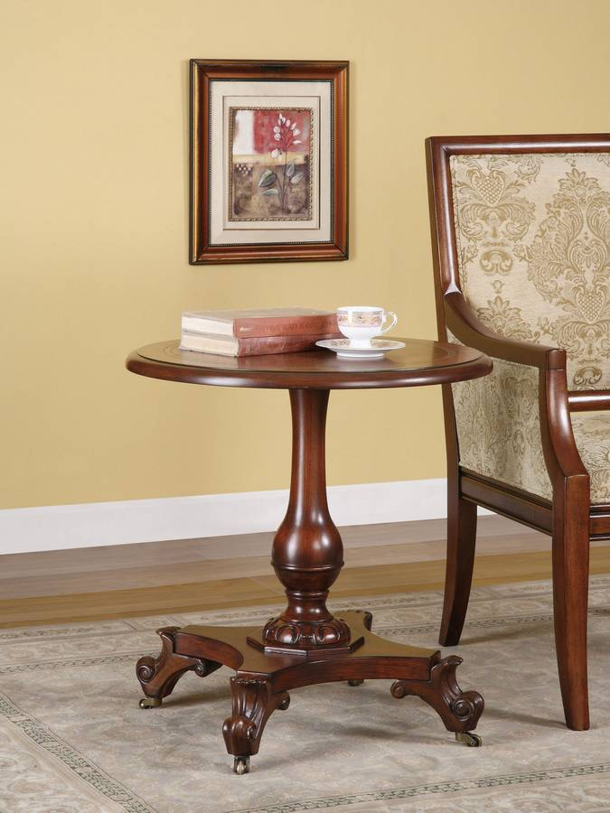 Cheap Powell Masterpiece Accent Table on Turned Pedestal with Flemish Scroll Feet