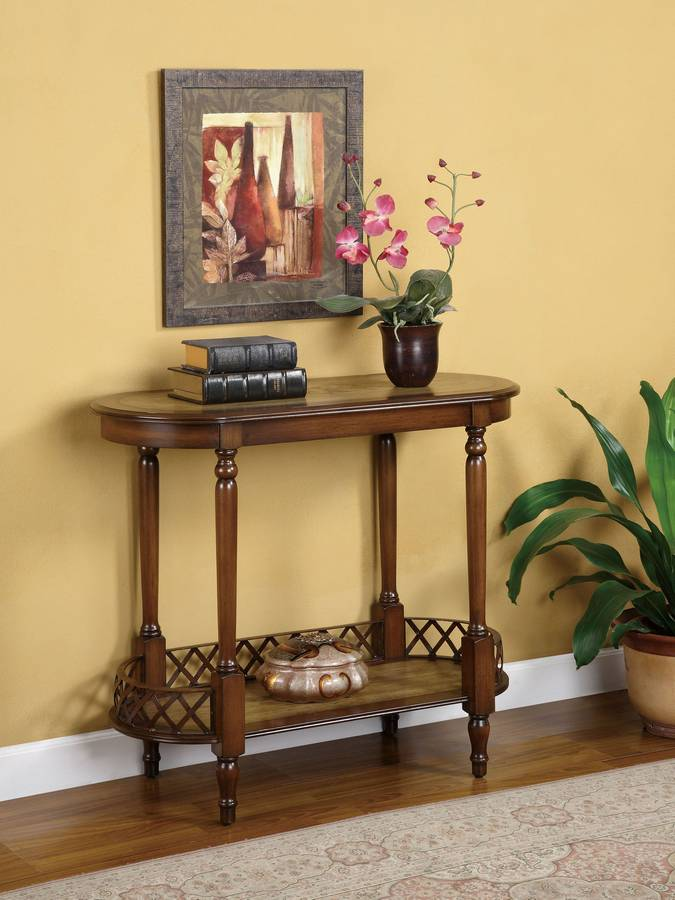 Cheap Powell Masterpiece Oval Accent Table with Galleried Display Shelf
