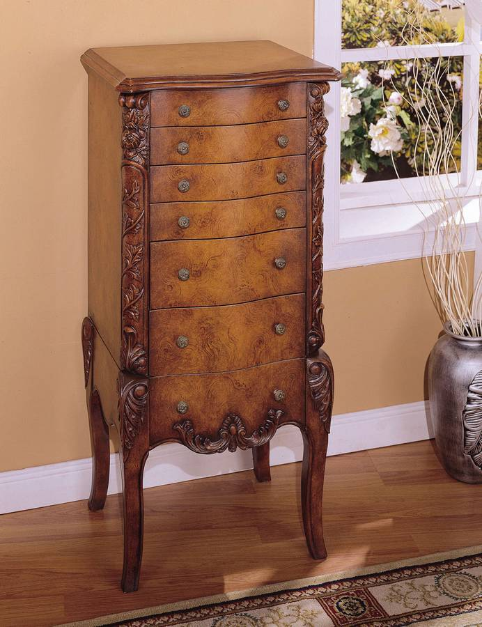 Cheap Powell Masterpiece Faux Burl Jewelry Armoire