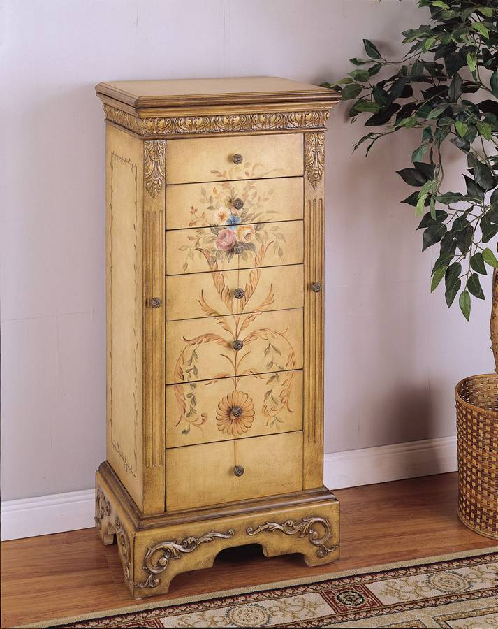 Cheap Powell Masterpiece Antique Parchment Hand Painted Jewelry Armoire