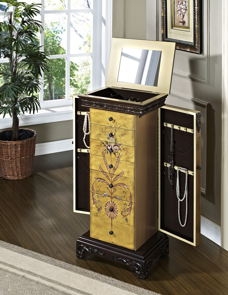 Powell Masterpiece Antique Parchment Hand Painted Jewelry Armoire