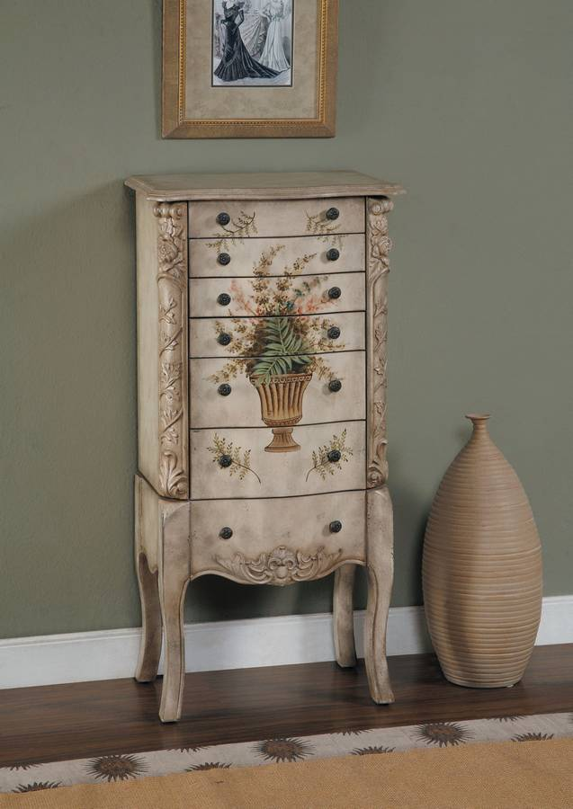 Cheap Powell Masterpiece Aged White Hand Painted Jewelry Armoire