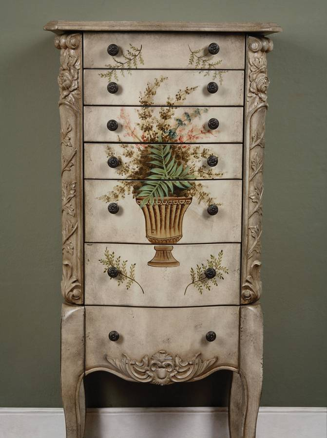 Powell Masterpiece Aged White Hand Painted Jewelry Armoire ...