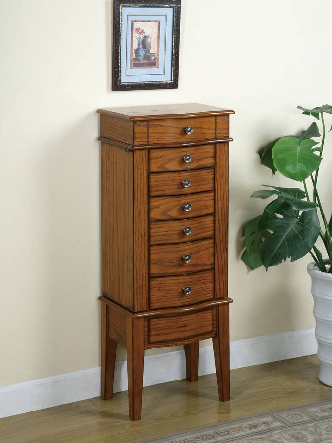 Powell Woodland Oak Jewelry Armoire With Lift Off Box