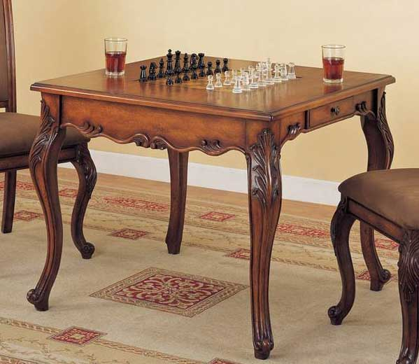 Cheap Powell Mahogany Game Table with Game Pieces