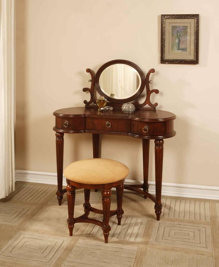 Cheap Powell Antique Mahogany Vanity-Mirror- Bench Set