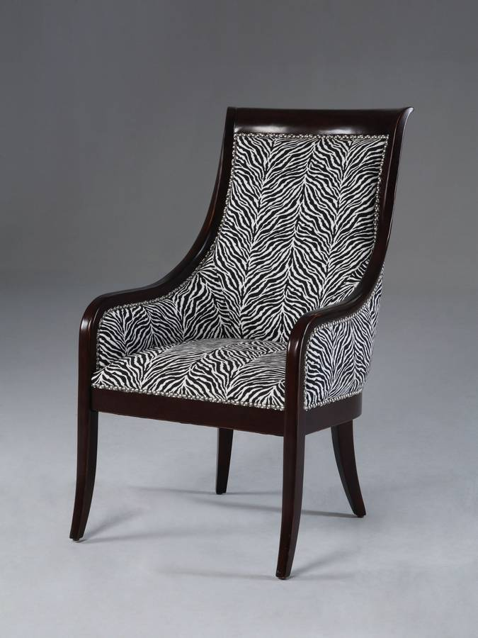 Powell Vancouver Walnut High Barrel Back Transitional Chair with Zebra Fabric