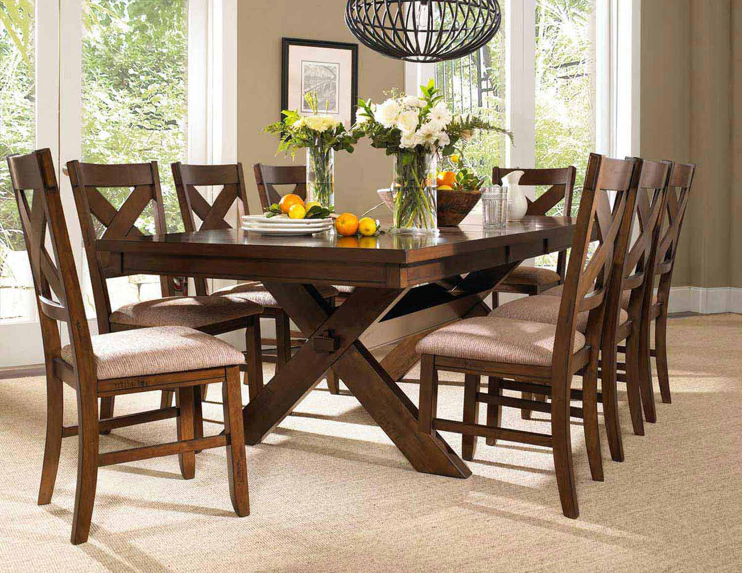 Powell Kraven Dining Set - Dark Hazelnut
